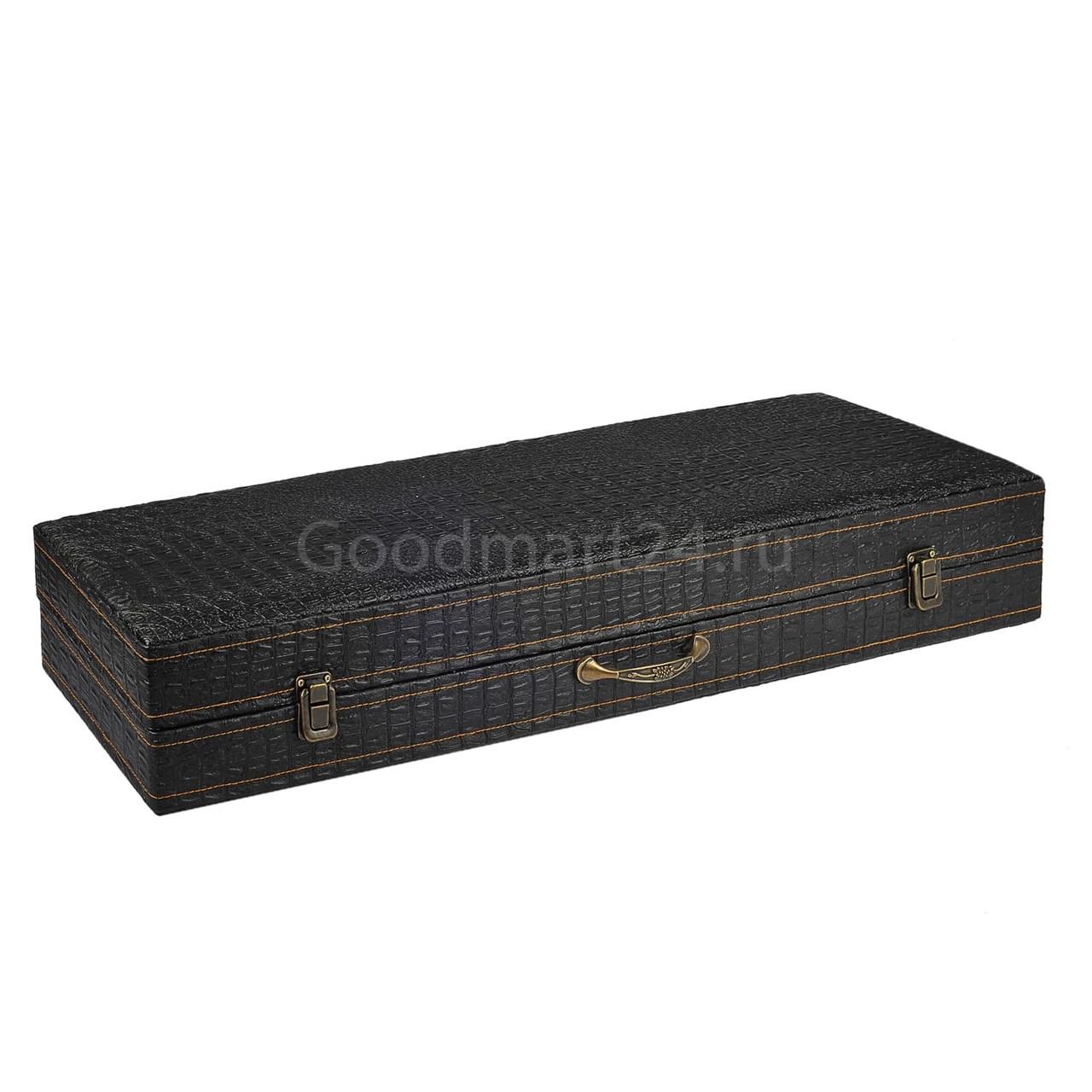 набор шампуров 6 шт в коробе кожзам