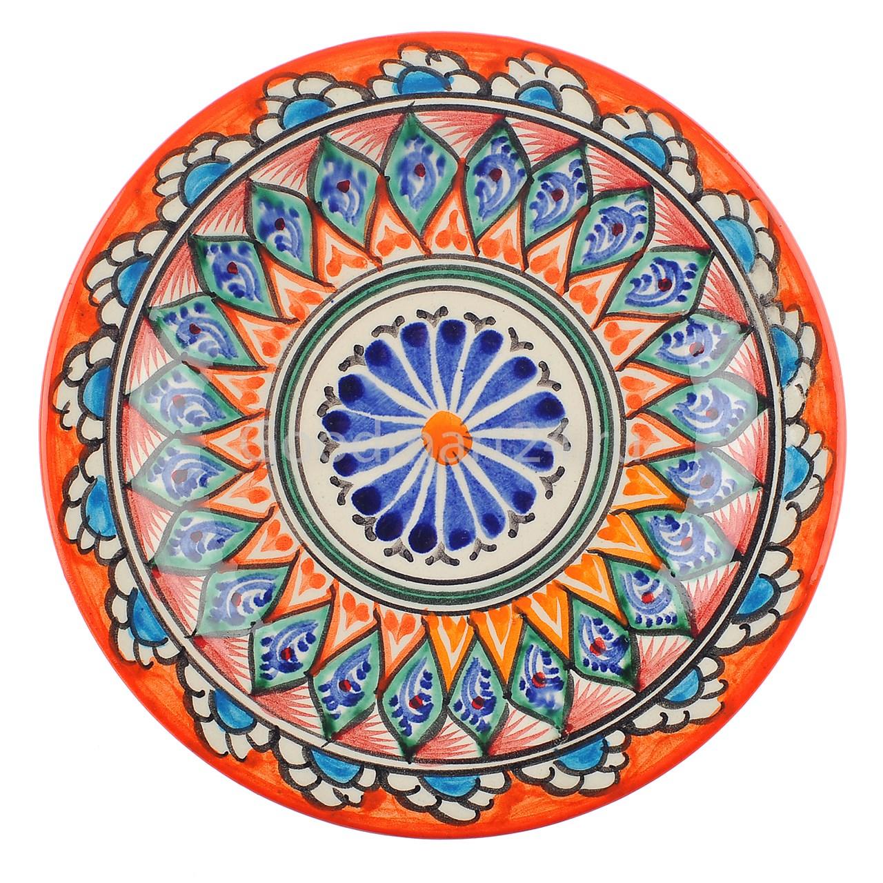 Риштанская Тарелка плоская 17 см. оранжевый Мехроб - фото 12870