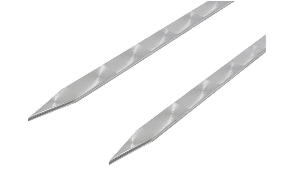 Шампур двойной вилка нержавеющая сталь 450х12х3 мм. деревянная ручка - фото 12911