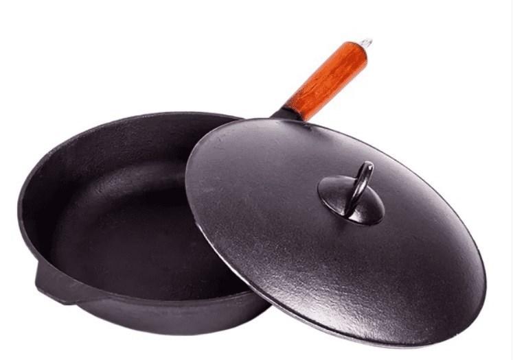 Сковорода чугунная 260/60-1КАЛД с алюминиевой крышкой фото
