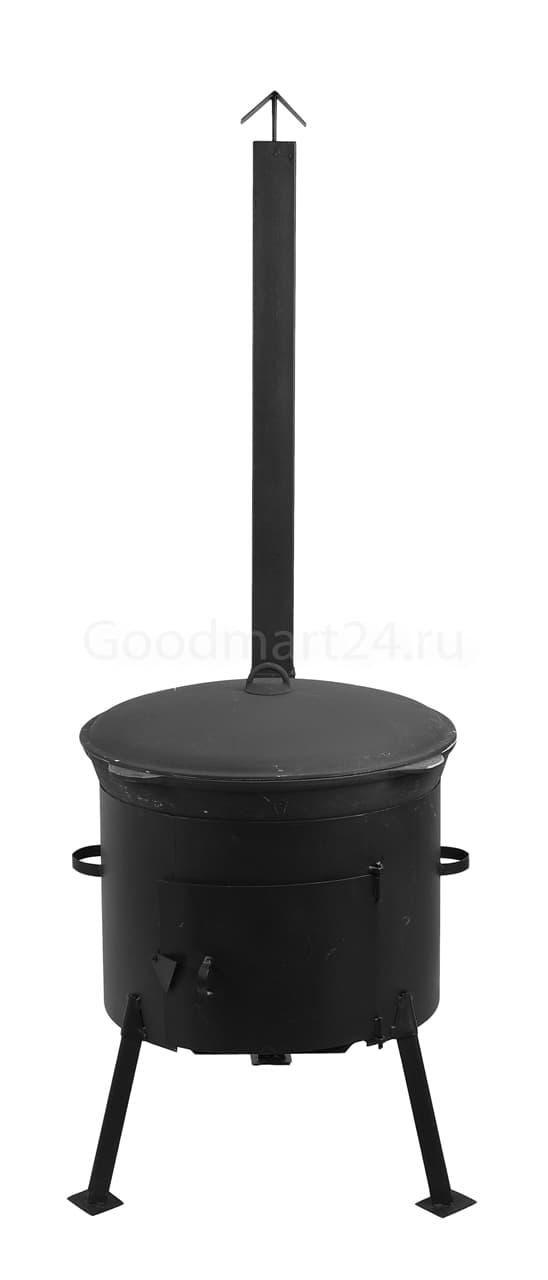 фото комплекта из чугунного казана 18 литров БЛМЗ + печь с трубой 440 мм