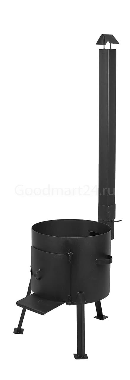 Чугунный казан 25 Л. Балезинский ЛМЗ + Печь с трубой сталь 2 мм