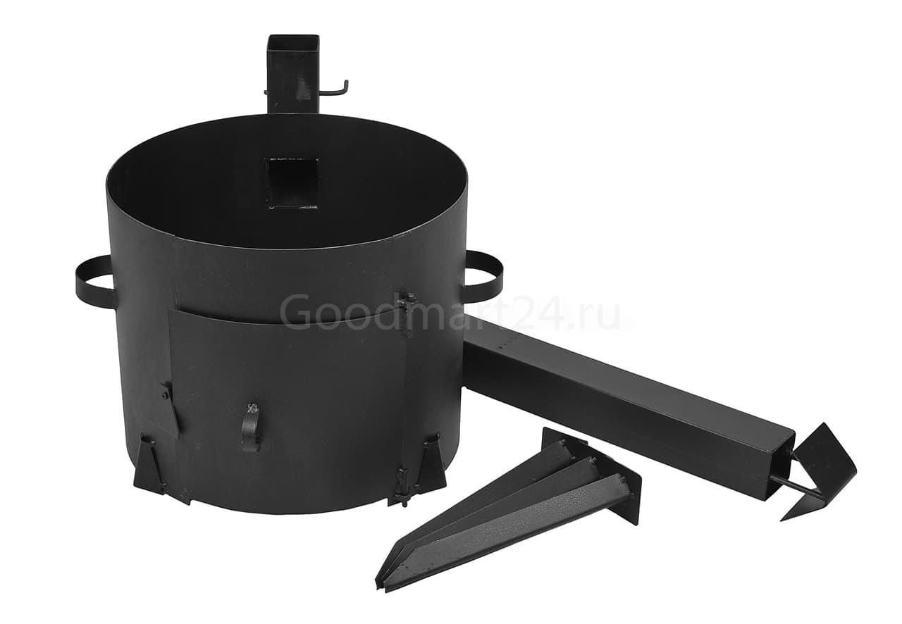 Доставка чугунного казана 18 л. Балезинский ЛМЗ + печь с трубой усиленная сталь 3 мм.