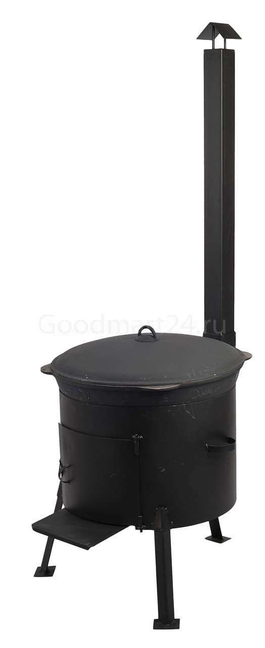 Чугунный казан 25 л. Балезинский ЛМЗ + Печь с трубой усиленная сталь 3 мм. - фото 4921