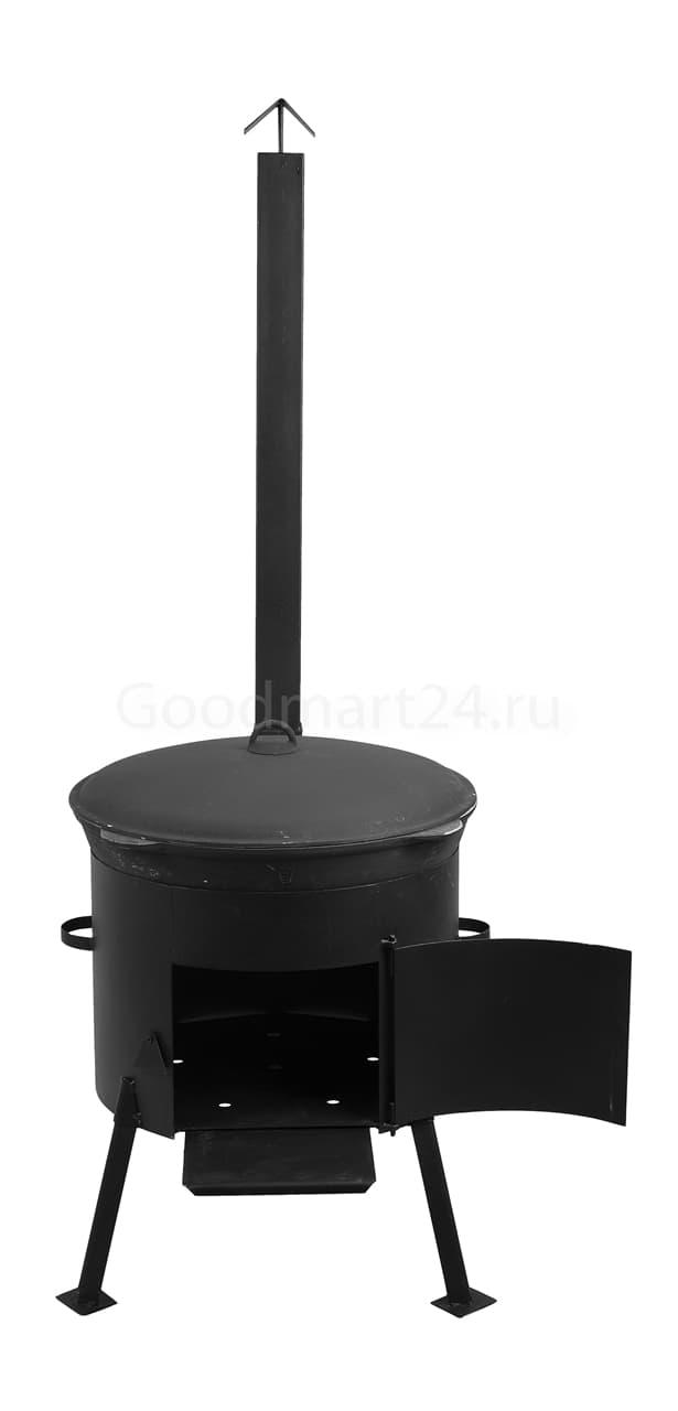 Чугунный казан 25 л. Балезинский ЛМЗ + Печь с трубой усиленная сталь 3 мм. - фото 4923