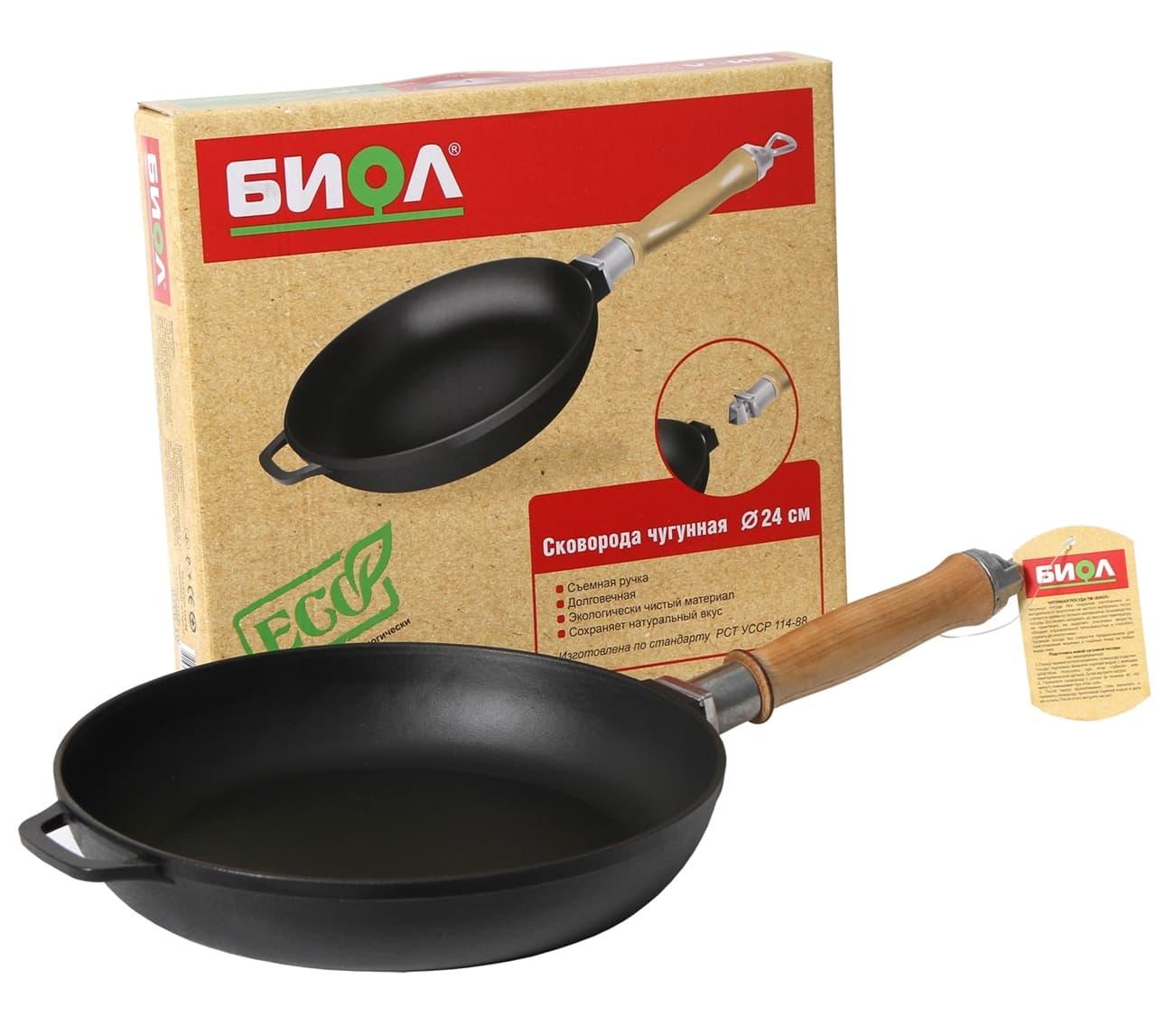 Чугунная сковорода 240х40 мм. с деревянной ручкой БИОЛ арт. 0124