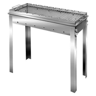 Мангал складной нержавеющая сталь 600х350х600 мм. 2 мм с решеткой - фото 5292