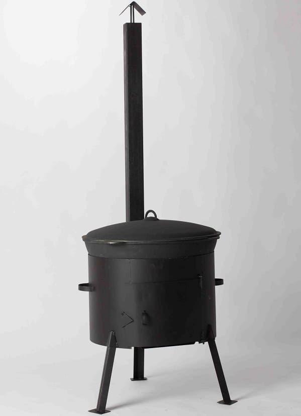 Комплект: Чугунный казан 10 л. Балезинский ЛМЗ + Печь с трубой D-360 мм s-2 мм. - фото 5535