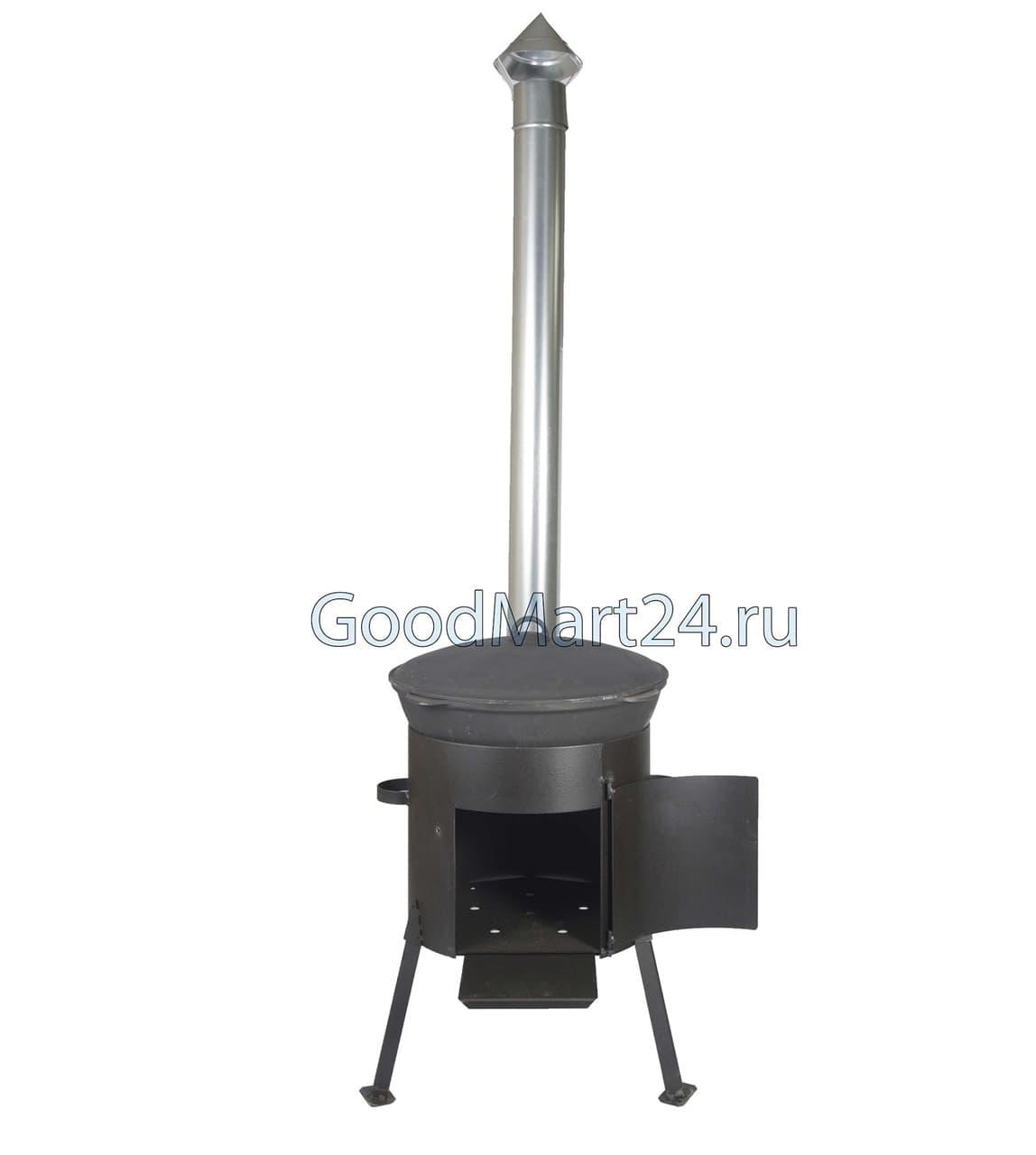 Комплект: Чугунный казан 10 л. Балезинский ЛМЗ + Печь с трубой D-360 мм, усиленная s- 3 мм.