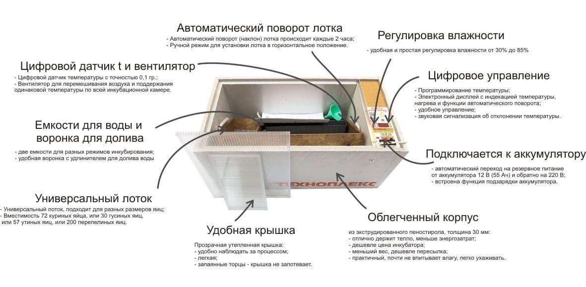 купить Инкубатор блиц Норма цифровой 72 яйца 220/12В с автоматическим поворотом и регулировкой влажности