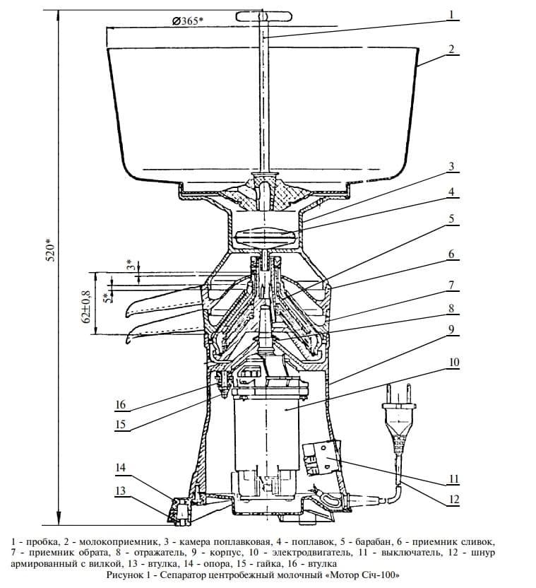 Сепаратор для молоко Мотор Сич 100-19, 100 л/ч, пласт. корпус, пласт. чаша