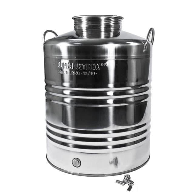 Традиционная бочка с краном на 20 литров из нержавеющей стали Sansone - фото 6073