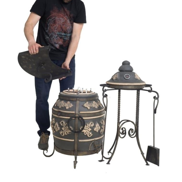 Тандыр Фирменный со столиком, графит, Эко