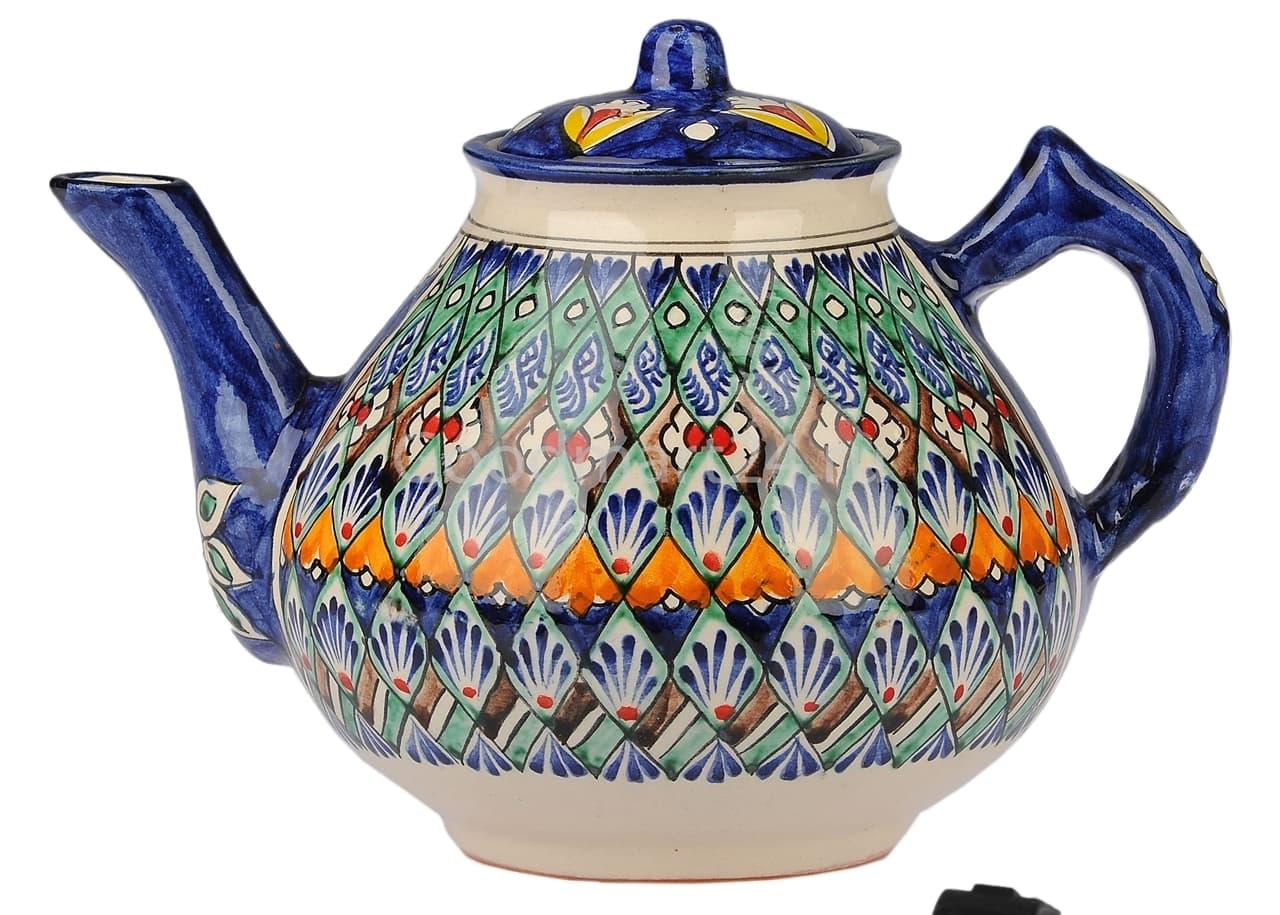 Чайник заварочный Риштанская Керамика 2 л. синий - фото 7476
