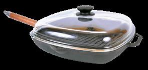 Сковорода-гриль чугунная с ручкой и стеклянной крышкой