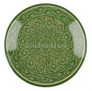 Ляган Риштанская Керамика 34 см. плоский, зеленый
