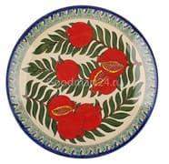 Ляган Риштанская Керамика 38 см. плоский, гранат
