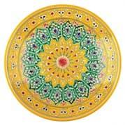 Ляган Риштанская Керамика 38 см. плоский, жёлтый